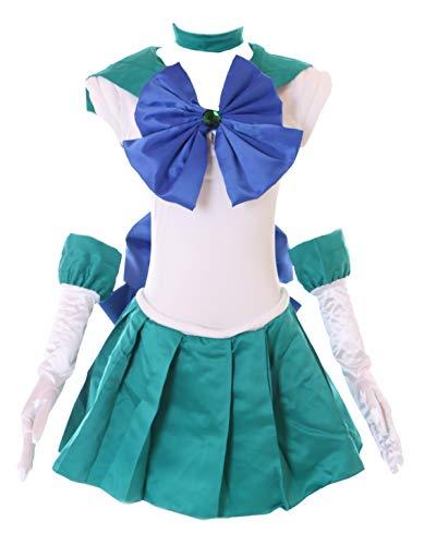 Kawaii-Story MN-H-6010 Neptun Crystal Sailor Moon Neptune grün weiß Cosplay Kleid Handschuhe Set Dress Kostüm Costume (M)