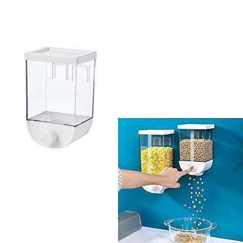 HSKB - Contenitore per cereali da cucina, con coperchio, senza fori, rettangolare, con coperchio trasparente 1000 ml.
