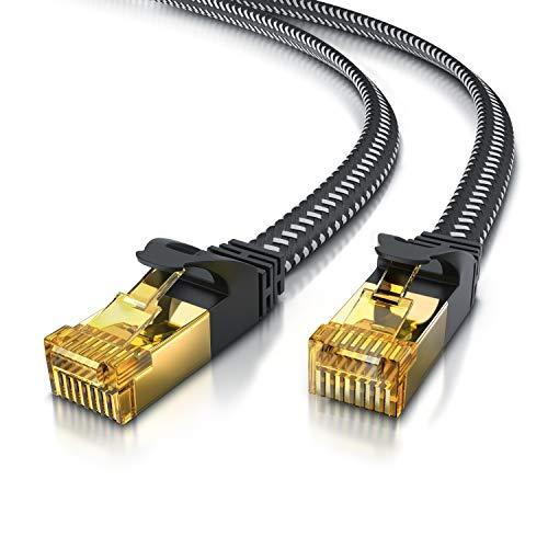 CSL - 10m CAT 7 Netzwerkkabel Flach 10 Gbits - Baumwollmantel - LAN Kabel Patchkabel Datenkabel - CAT.7 Gigabit RJ45 Ethernet Cable - 10000 Mbits Geschwindigkeit - Flachbandkabel - Verlegekabel