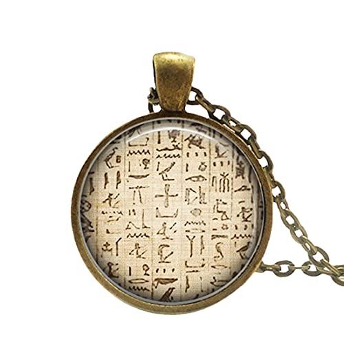 Collar egipcio con colgante egipcio jeroglífico de la joyería egipcia, jeroglíficos egipcios, símbolo egipcio musulmán símbolo jeroglífico