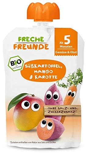 FRECHE FREUNDE Bio Beikost-Quetschie Süßkartoffel, Mango & Karotte, Babynahrung ab dem 5. Monat, glutenfrei & vegan, 6er Pack (6 x 100g)