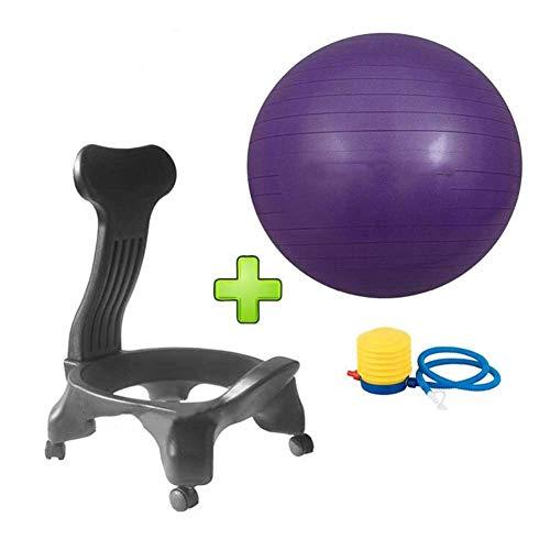 HTQ Yoga Ball, Gymnastikball Fitnessbälle Stabilitätsball Yoga, Pilates, Balance Stuhl Mit Rädern (Color : Purple, Size : 73 * 103cm)