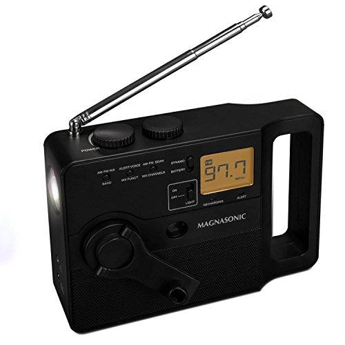 Magnasonic Multi-Function Hand Crank Emergency Radio, Dynamo Charging, AM/FM/Weather Alert, Ultra Bright LED Flashlight, Smartphone Charger, LCD Display, Portable (ER51)