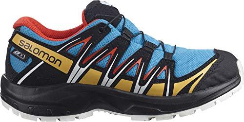 Salomon Kinder XA PRO 3D, Schuhe für Trail Running und Outdoor-Aktivitäten, ClimaSalomon Waterproof Blau/Schwarz (Hawaiian Ocean/Cherry Tomato/Warm Apricot), 37 EU