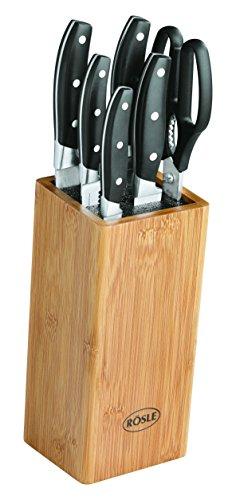 RÖSLE CUISINE Bambus Messerblock bestückt, 7-tlg., Klingen-Spezialstahl, mit Universalmesser, Gemüsemesser, Fleischmesser, Kochmesser, Brotmesser, Küchenschere