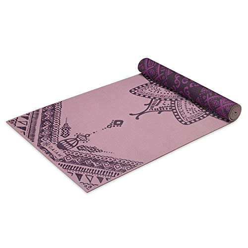 Gaiam Yoga Mat Premium Print Reversible Extra Thick Non Slip Exercise & Fitness Mat for All Types of Yoga, Pilates & Floor Workouts, Inner Peace Lotus, 6mm
