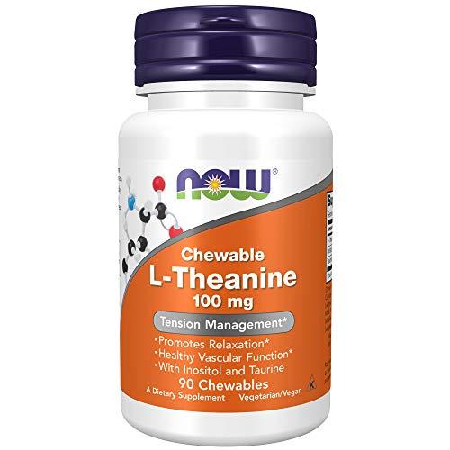 Now 100 mg L-Theanine 90 Comprimés à Croquer