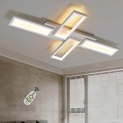 CBJKTX Deckenleuchte LED Wohnzimmerlampe Weiß Deckenlampe Dimmbar 58W 82.7CM Eckig Modern Design Schlafzimmerlampe Küchenlampe mit Fernbedienung Innen Deckenbeleuchtung Bürolampe Flurlampe