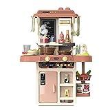 HXSYD Juego de cocina para niños, juguetes de cocina con accesorios de juguete, plástico ABS, mejor juego de cocina, simulación de cocina, juego de rol, color naranja