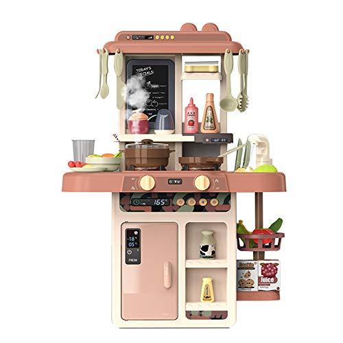 HXSYD Juego de cocina con utensilios para niños y niñas, juguetes de rol para niños y niñas, color naranja