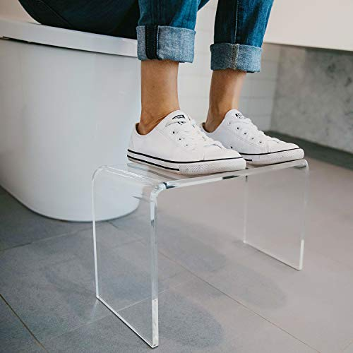 Squatty Adult Toilet Step Stool. This PROPPR Clear Squatting Potty Stool is Modern and Discreet. Easy to Clean and Hygienic, Blends Seamlessly Into Any Bathroom.