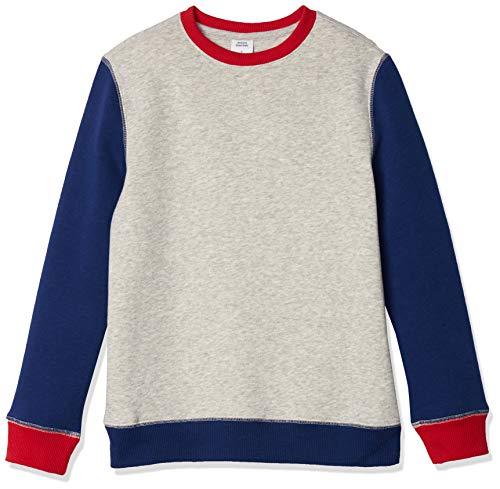 Amazon Essentials Kids Boys Fleece Crew-Neck Sweatshirts, Light Grey Heather Colorblock, X-Small