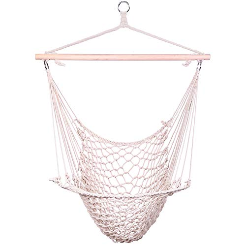 ROOCHL Cotton Hammock Chair Swing-Beige Can Be Suspended Swing Chair, Max 250 Lbs, Suitable for Indoor/Outdoor Home Bedroom Terrace Terrace Yard Garden