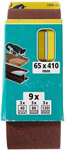 Wolfcraft 1899100 Gew.-Schleifbänder-Set 9-tlg. 65x410, rot