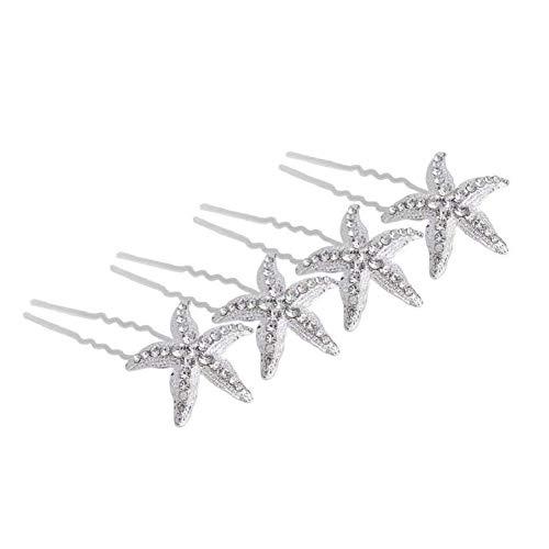 Dusenly 10 Stück Haarspangen Braut Kristall Strass Seestern Haarnadeln Haarschmuck Mädchen Frauen Kopfbedeckung Kopfschmuck