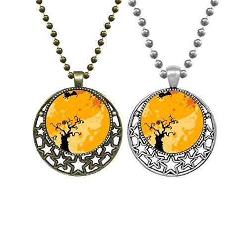 Halskette mit Anhänger, Motiv: Baum und Geister, Halloween, Mond, Sterne, Schmuck