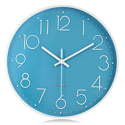 orologio da parete quadrato Lafocuse Orologio da Parete Bambini Azzurro e Bianco Silenzioso Moderno con Grandi Numeri 3D per Cameretta Soggiorno 30 cm