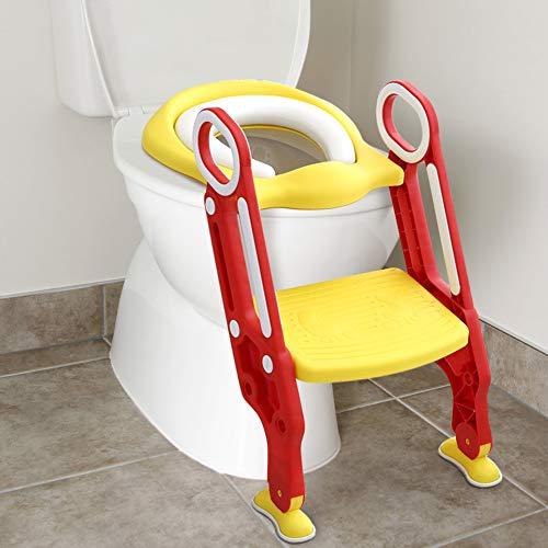 Cocoarm Töpfchentrainer mit Treppe Kinder Einstellbar Toilettensitz mit Leiter WC Sitz Toiletten Trainer Töpfchen Sitz für Junge und Mädchen von 1-7 Jahren belastbar ist 75 Kg (A mit gepolsterten)
