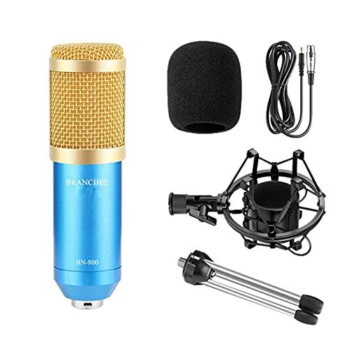 mikrofon BM-800. Microfono professionale condensatore BM800. Kit: microfono per computer + supporto shock + tappo in schiuma + cavo come BM 800. Microfono microphone ( Color : PACKAGE 1 blue )