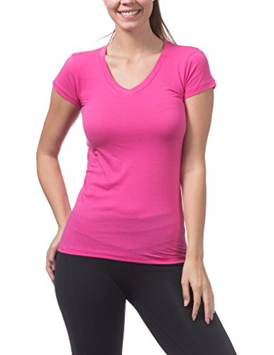 Pro Club Women's Short Sleeve V-Neck Tee, Hot Pink, 3X-Large