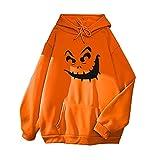 Alueeu Mujer Sudadera con Capucha Halloween Manga Larga Chaqueta Suéter Jersey Invierno Otoño Juveniles con Estampado Casual Blusas 2021