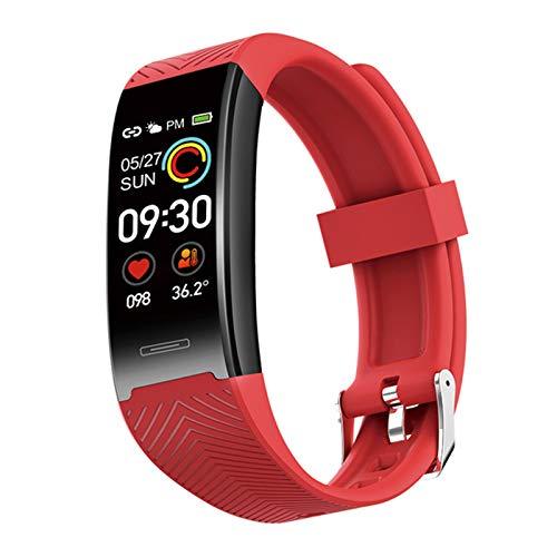 XYZK Reloj Deportivo Inteligente De Las Mujeres con Ritmo Cardíaco para Hombre Cuerpo Medición De Temperatura Esfigmomanómetro Pulsera Inteligente Pulsera,A