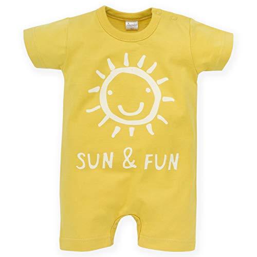 Pinokio - Sun & Fun - Barboteuse Body Salopette Bébé Garçon Fille Baby Unisex 100% Coton Jaune Bleu Été 62-86 cm (62, Jaune)