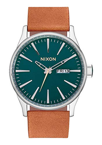 Nixon Armbanduhr Sentry Leder Dark Green / Saddle