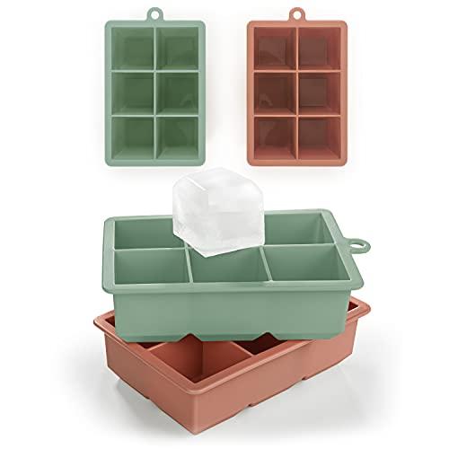 Blumtal - Bac Glacon XXL - Bac Glacon Silicone - 6 Glaçons XXL Par Bac (12 glaçons) - Glacon Carré de 4,4 cm - Sans BPA - Démoulage facile - Lavable en lave-vaisselle - Vert olive / Rouge minéral