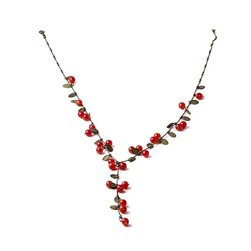 VANKER Femmes Mode Collier Belle Douce Cerises Rouges Pendentif Bijoux