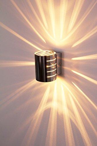 Wandleuchte Ponte, aus Metall in Chrom, 1-flammig, 1xG9 max. 33 Watt, Wandspot mit Lichteffekt u. An-/Ausschalter am Gehäuse, LED geeignet