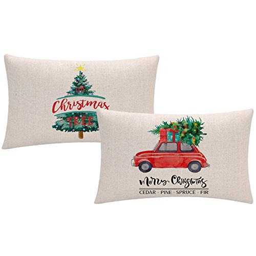 ULOVE Love Yourself Feliz Navidad - Juego de 2 fundas de cojín decorativas para sofá o sofá (30 x 50 cm), diseño de árbol de Navidad y camión rojo