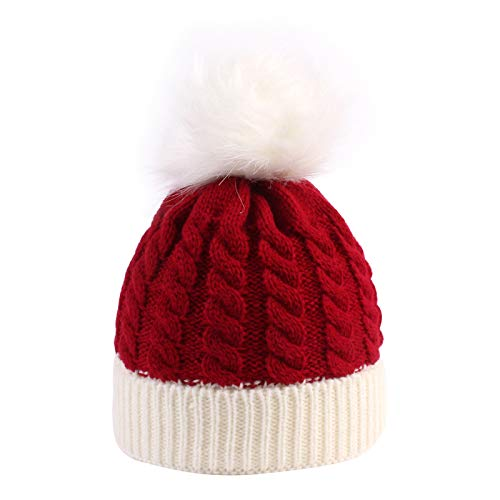 Christmas Santa Hat for Toddler Baby Soft Warm Baby Beanie Knit Hat Red