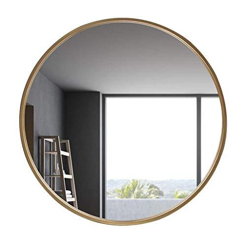 ZRABCD Espejo, Baño, Montado en la Pared, Tocador, Gran Círculo Moderno M Mirado Mirado Contemporáneo Plata Respaldado Flotante Redondo Panel de Vidrio,Oro,80 cm