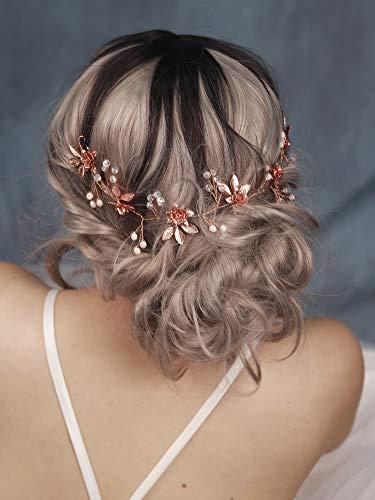 Handmadejewelrylady - Haarband im Roségoldblatt-Design, Hochzeits-Haarschmuck, Brauthaarschmuck für Frauen, Kopfschmuck, Tiara, Brautschmuck, Haarband