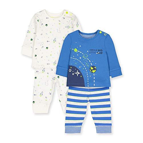 Mothercare B Little Space 2pk PJ Conjuntos de Pijama, (Bright Blue 478), Tiny Baby (Size:50) para Bebés
