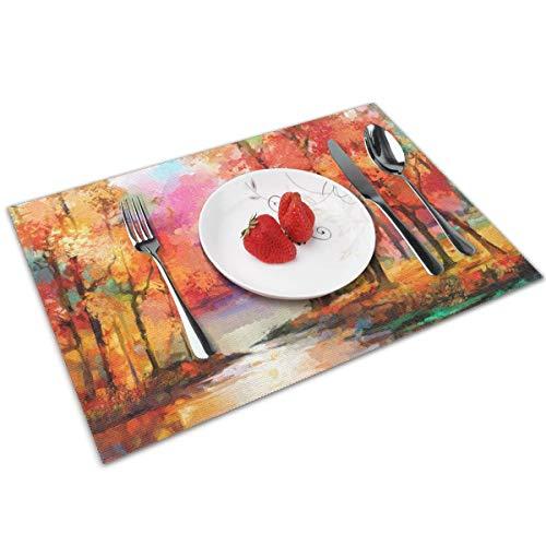 Dingl olieverfschilderij semi abstract rood blad populier en meer Placemat wasbaar anti-slip voor keuken diner tafelmat, gemakkelijk te reinigen Placemat 12x18 Inch Set van 4