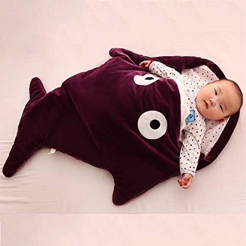 Baby Schlafsack aus Baumwolle, Kinder Unisex Weiche Bequeme Haifisch Schlafsack,0-18 Monate und älter Cute Infant Boy Girls Schlafsack Baby Wrap Blanket für Bett Kinderwagen Purple