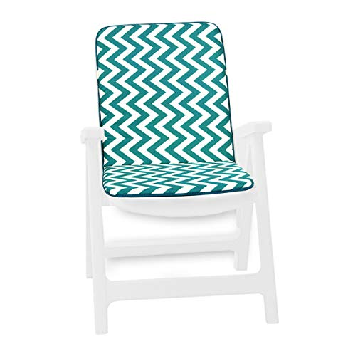 Zig Zag - Cojín de silla suave a rayas para casa, jardín, interior y exterior, modelo Capri 11D verde