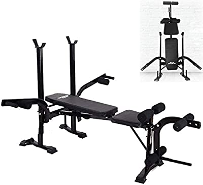 Rindasr Strength Training Equipment?Weights?Sit Up Bench Adjustable Folding Weight Bench with Dip Station, Heavy Duty Multi Sit Up Workout Barbell Lifting Chest Press