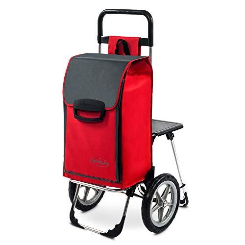 Einkaufstrolley Fajena mit Klappsitz & Kühlfach in rot mit 65L - Einkaufsroller Trolley 50kg belastbar große & abnehmbare Rädern