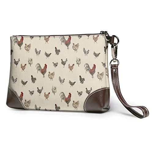 Hdadwy Arte de pollo animal pintura impresa mujeres bolso monederos carteras cuero embrague bolsas 8 pulgadas x 5.5 pulgadas x 1.5 pulgadas