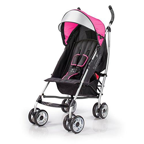 Summer 3Dlite Convenience Stroller, Pink – Lightweight Stroller with Aluminum Frame, Large Seat Area, 4 Position Recline, Extra Large Storage Basket – Infant Stroller for Travel and More