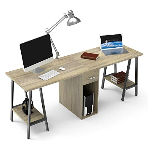 "DEWEL Two Person Desk Dual Desk with Drawer 78"" Double Side Desk Workstation Long Executive Computer Office Desk Writing Table with Storage Shelves for Home Office"