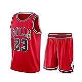 JX-PEP Set da Uomo Set-Bulls # 23 Camicia da Pallacanestro Gilet Top Summer Shorts, T-Shirt da Jersey Swing Traspirante T-Shirt Senza Maniche Sport,Rosso,M