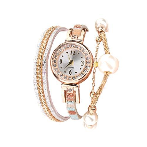 Fenverk Damen Schöne Mode Design Strass Armband,Armbanduhr Damen Mode Frauen Mädchen Analog Quarz Eule Anhänger Damen Kleid Armband Uhr Armbanduhr Armband Uhr Uhren(F#03)