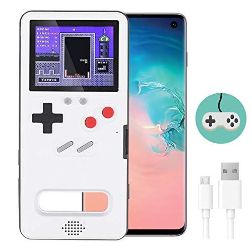 LucBuy Funda para Juegos para Galaxy, Cool Display a Todo Color,Estuche Protector Retro con 36 Fun Game,Estuche para Teléfono de Videojuegos para Note10/20/S10/20/Plus/Ultra (Galaxy S10 Plus, Blanco)