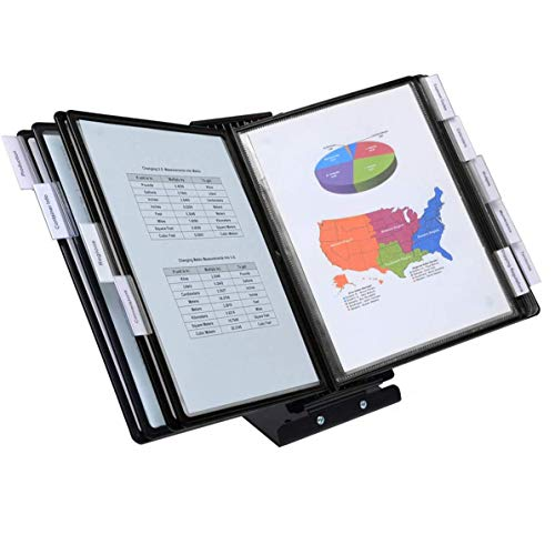 Ultimate Office SwitchFile Reference Organizer Displays Both Landscape or Portrait Documents Desk or Wall Mount Featuring 10 EZ-Load Pockets to Hold 20 Sheets of Paper Black Pockets