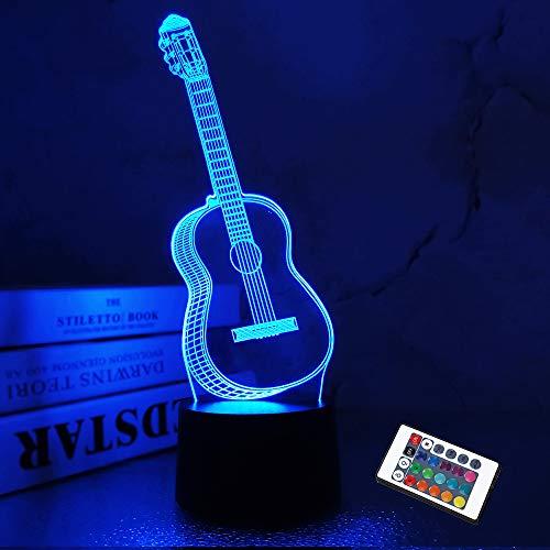 Regalos de guitarra con luz nocturna 3D para amantes de la música Lámpara de ilusión 3D con control remoto y cambio de 16 colores para tienda de instrumentos musicales