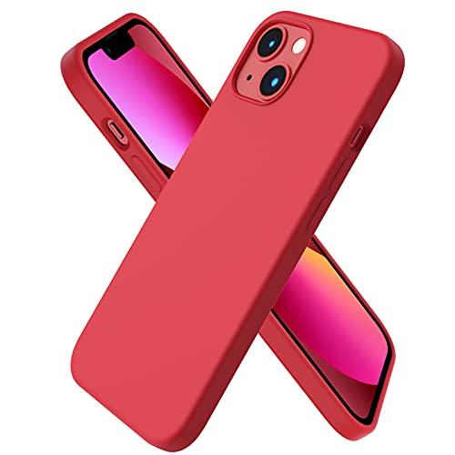 ORNARTO Funda Silicone Case Compatible con iPhone 13, Protección de Cuerpo Completo,Carcasa de Silicona Líquida Suave Antichoque Case para iPhone 13 (2021) 6,1-roja